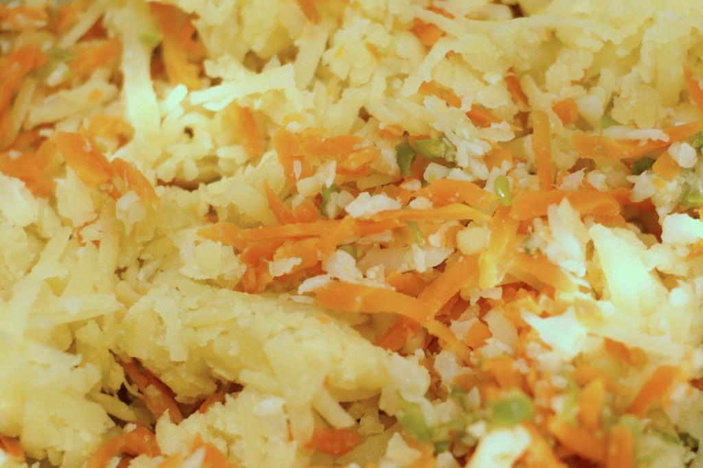 Utarte i odciśnięte gotowane warzywa